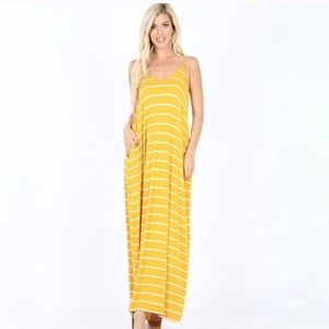 🛍 MUSTARD Yellow Striped Maxi with Pockets